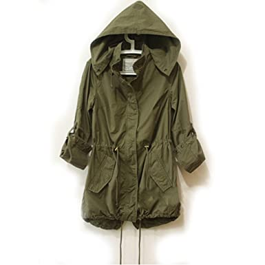 Easy Leisure Girl Army Green Military Parka Button Trench Hooded ...